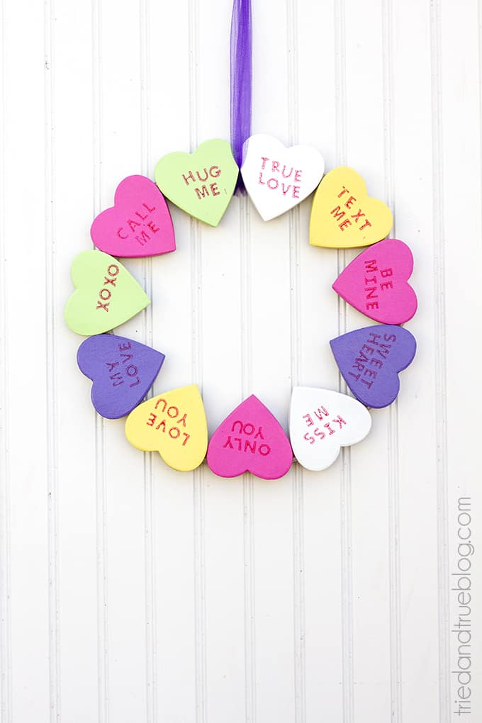 Candy Hearts Valentine's Day Wreath - A sweet wreath tutorial to celebrate the day!