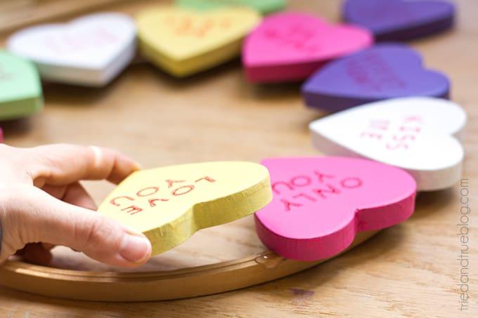 Candy Hearts Valentine's Day Wreath - Glue