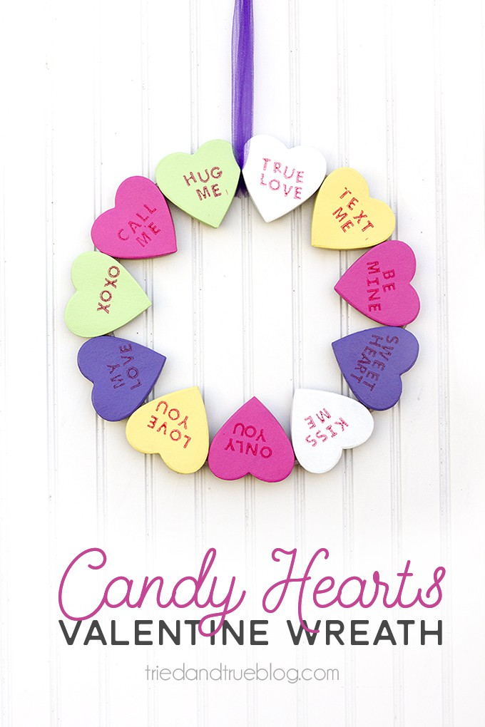 Candy Hearts Valentine's Day Wreath - Celebrate the holiday with this sweet wreath!