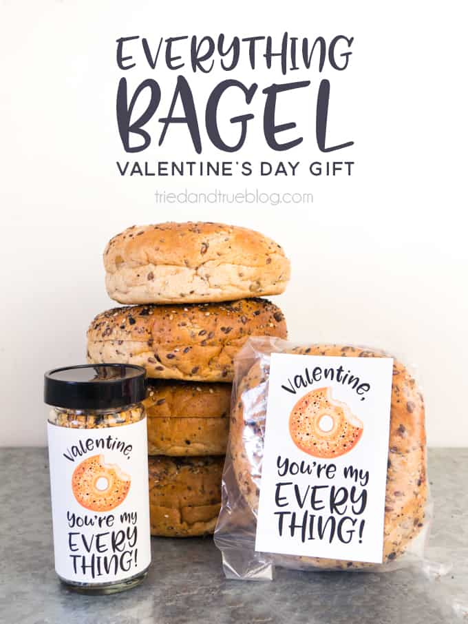 Everything Bagel Valentine's Day Gift - An easy gift for a co-worker, friend, or teacher! #valentinesdaygift