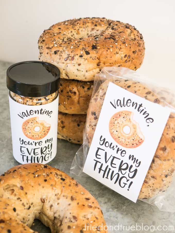 Everything Bagel Valentine's Day Gift - Easy gift with the free printable labels!
