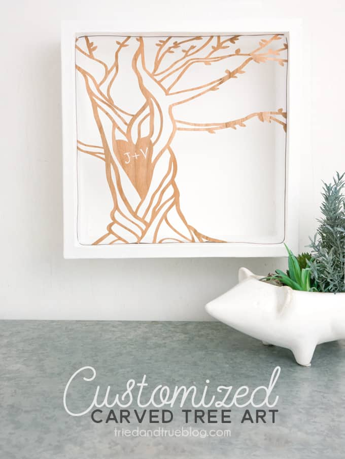 This Customized Carved Tree Artwork is made with with a Cricut Maker and perfect for a wedding gift!