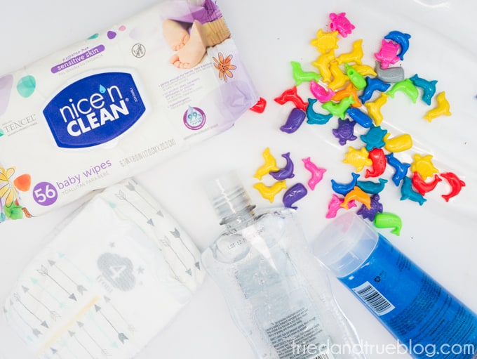 Supplies needed to entertain your child during a diaper change