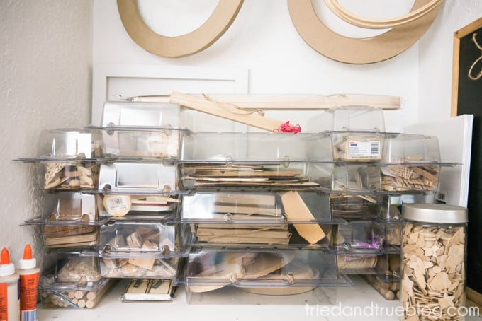 Blank storage containers in craft room