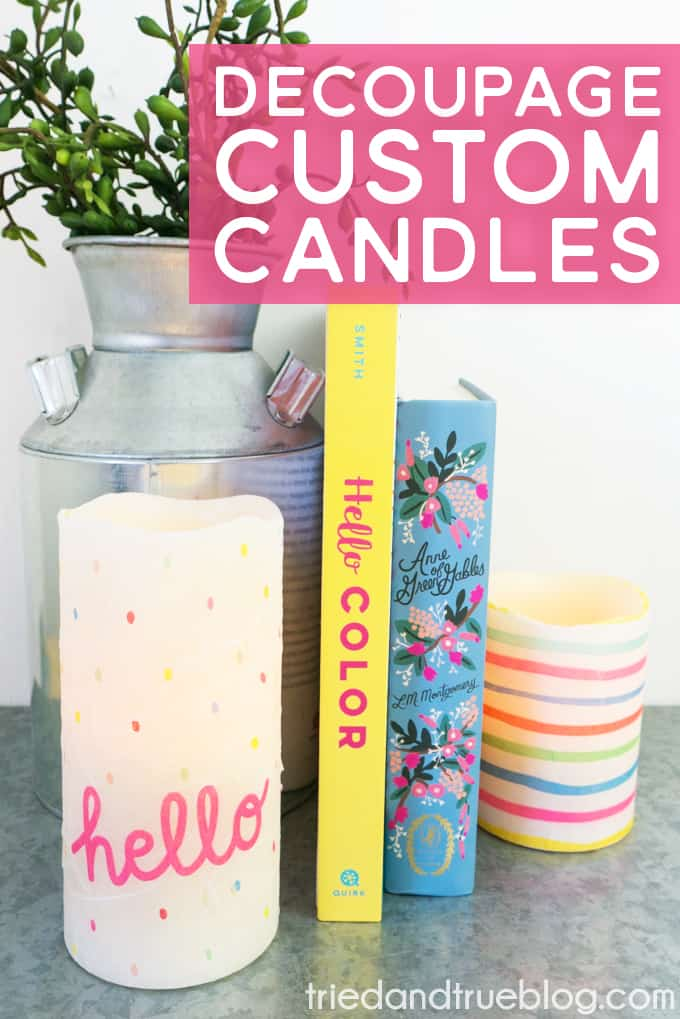 Make these Decoupage Custom Candles in minutes!