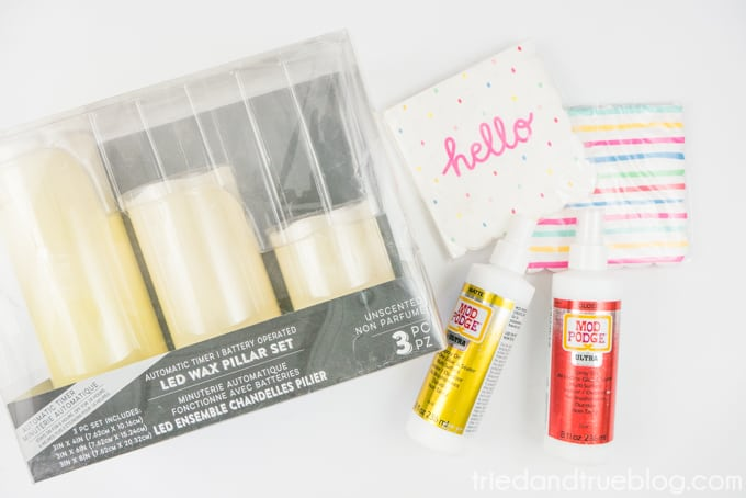 Supplies needed to make Decoupage Custom Candles including Mod Podge Ultra