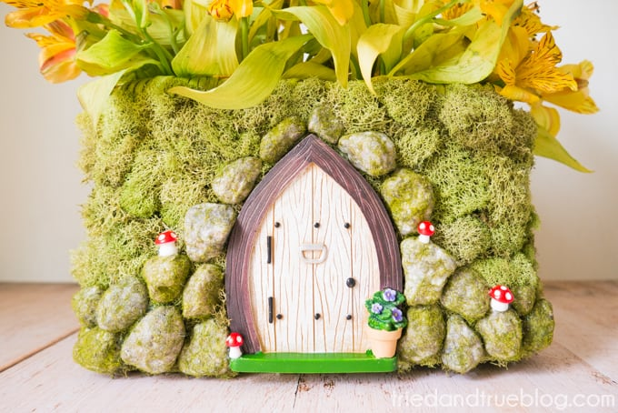 Close up of the front of the Spring Fairy Garden Basket