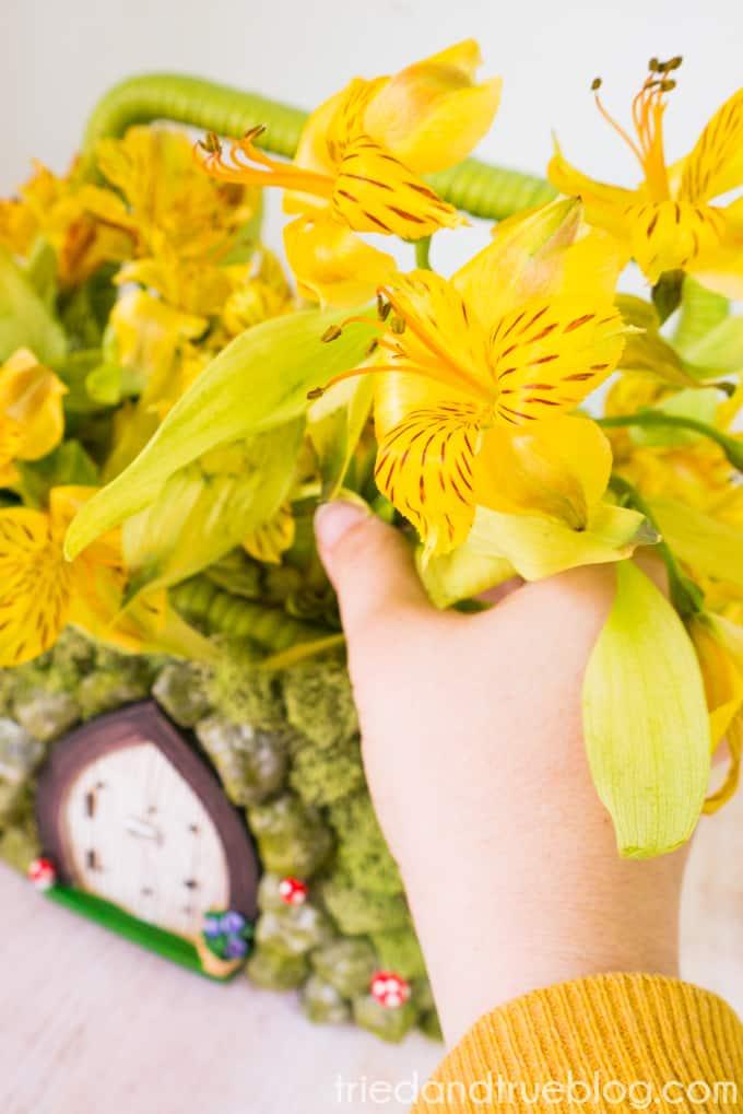 Add flowers to your Spring Fairy Garden Basket!