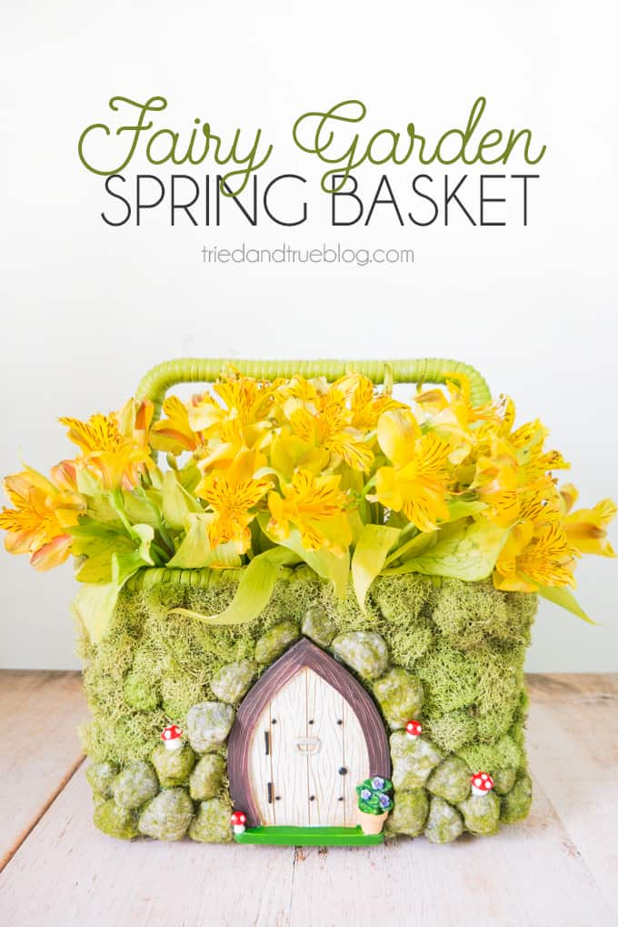 Make this adorable Spring Fairy Garden Basket. Perfect for Easter and more!