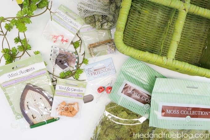 Supplies needed to make Spring Fairy Garden Basket