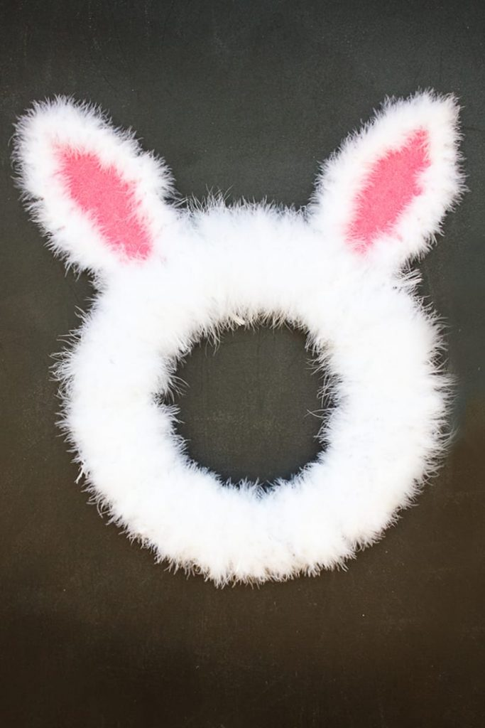 An Easter Bunny Spring Wreath that's easy to make and looks great with other Easter Crafts!