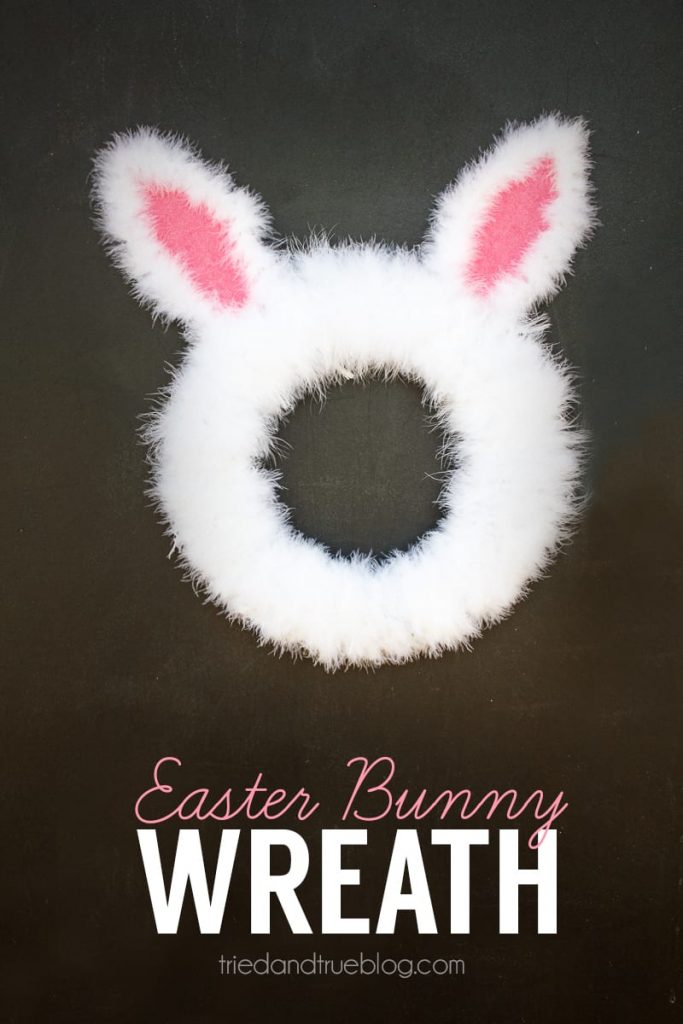 This Easter Bunny Spring Wreath is super easy to make with just a couple craft supplies. The perfect addition to your Easter Crafts!