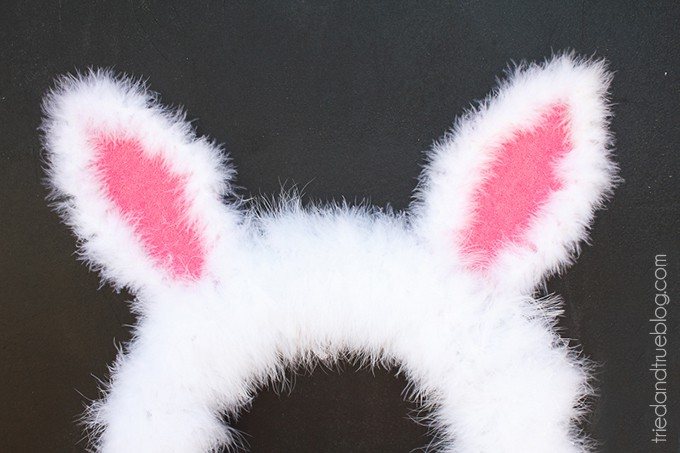 Close up image of the Easter Bunny Spring Wreath