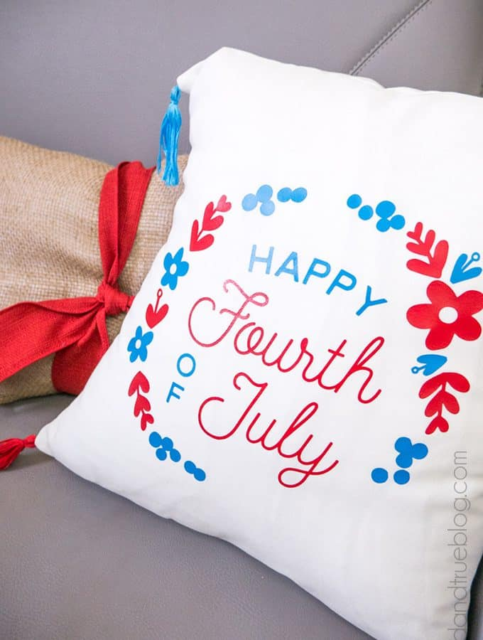 Fourth of July Pillow Cover on Couch