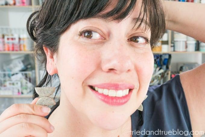 Wearing the handmade Faux Granite Geometric Earrings