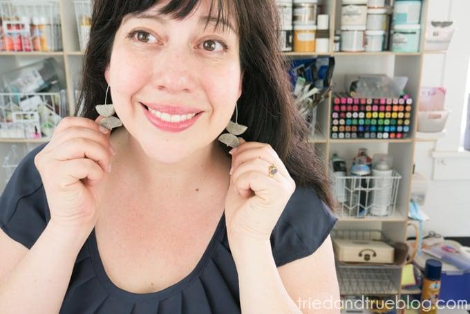 Showing both Faux Granite Geometric Earrings on