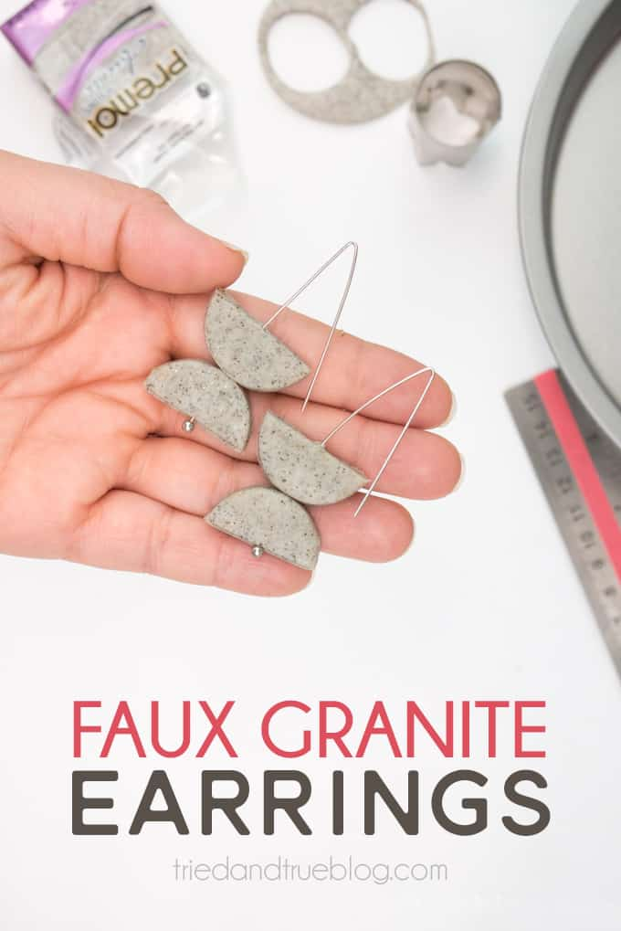 Tutorial on how to make Faux Granite Geometric Earrings with polymer clay