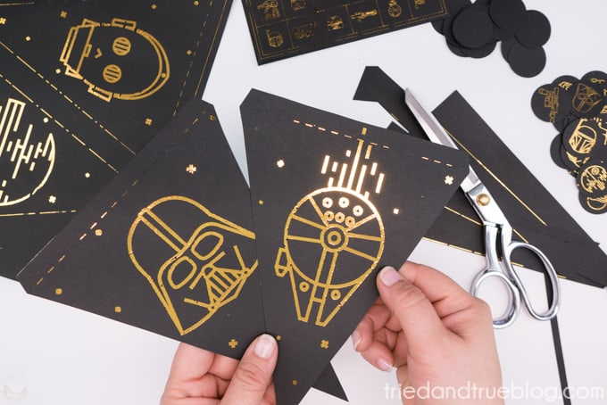 Star Wars pennant flag with gold foil