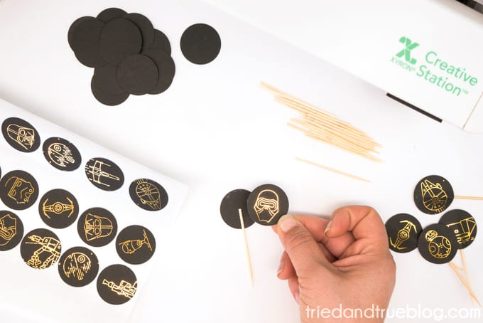 Assembling the Star Wars cupcake toppers