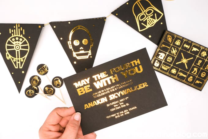 Foiled invitation for May the Fourth Star Wars Party