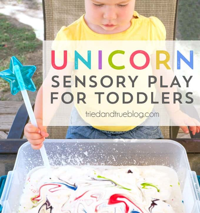 Toddler participating in Unicorn Sensory Play
