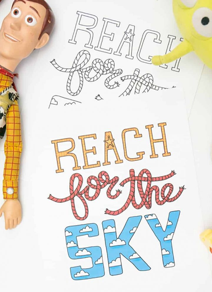 Hand holding the Toy Story Reach for the Sky printable and coloring page