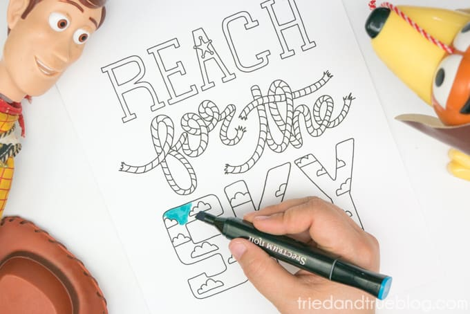 """Hand coloring in """"Reach for the Sky"""" free printable."""