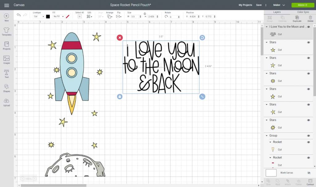 Screen shot of Design Space file used to make pencil case.