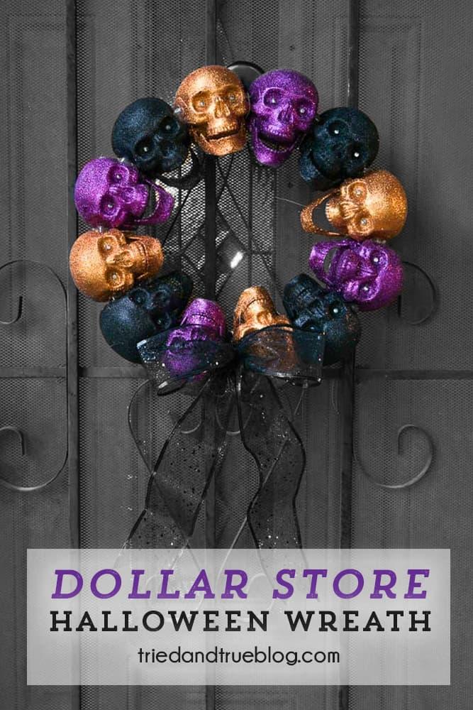 Metal door with Dollar Store Halloween Skull Wreath hanging from the center.