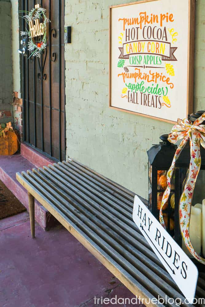 Front porch with Thanksgiving decor and Reversible Halloween & Thanksgiving Cricut Vinyl Sign