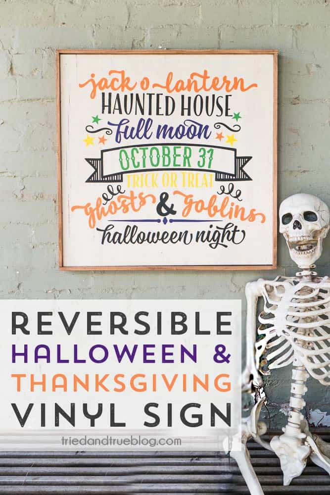 Skeleton sitting on bench in front of Reversible Halloween & Thanksgiving Cricut Vinyl Sign