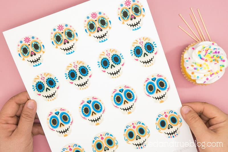 Hands holding a sheet of Day of the Dead (Dia de los Muertos) Sugar Skull Cupcake Toppers.