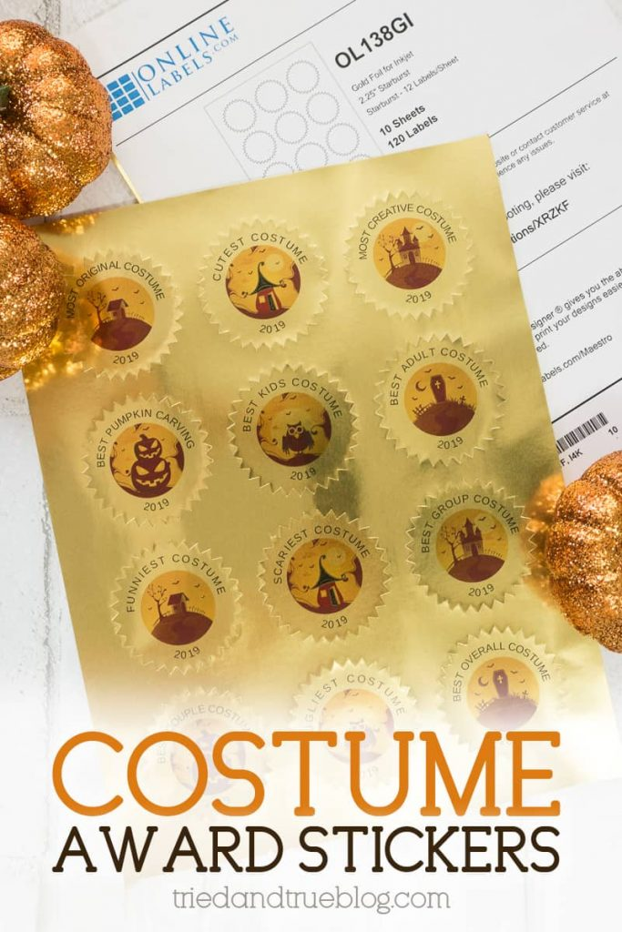 Halloween Costume Award Stickers on a gold foil sheet of starburst labels.