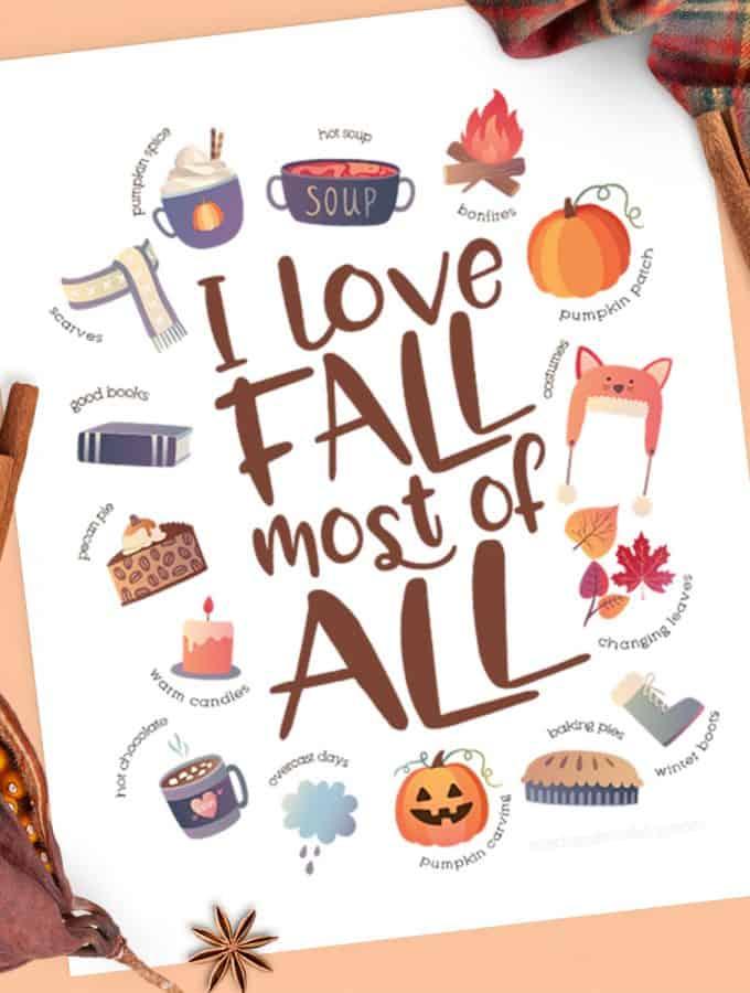 I Love Fall Free Printable SQ 680x900
