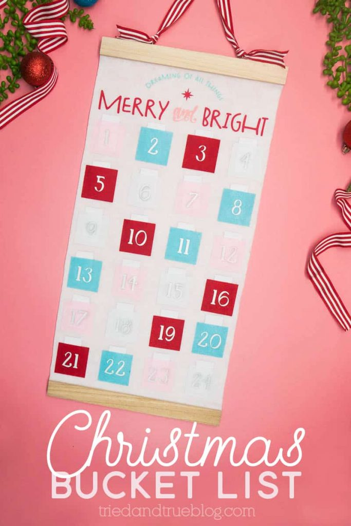 Christmas Countdown on white felt panel with red, blue, and pink squares holding small tabs of paper.