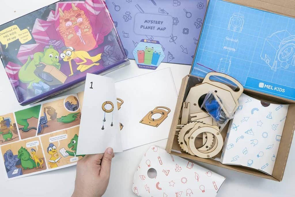 Inside contents of the MEL Kids Kit one of the best STEM subscription boxes for kids