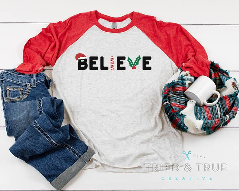Red raglan t-shirt with the