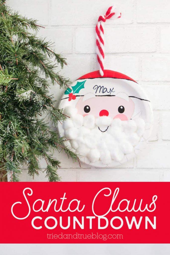 Santa Christmas Countdown hanging on wall.