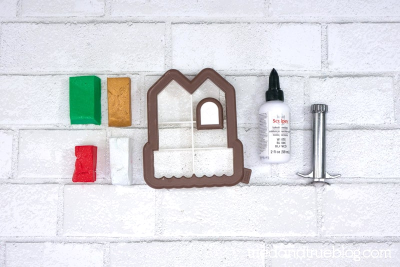 Supplies need to make a Homemade Gingerbread House Clay Ornament