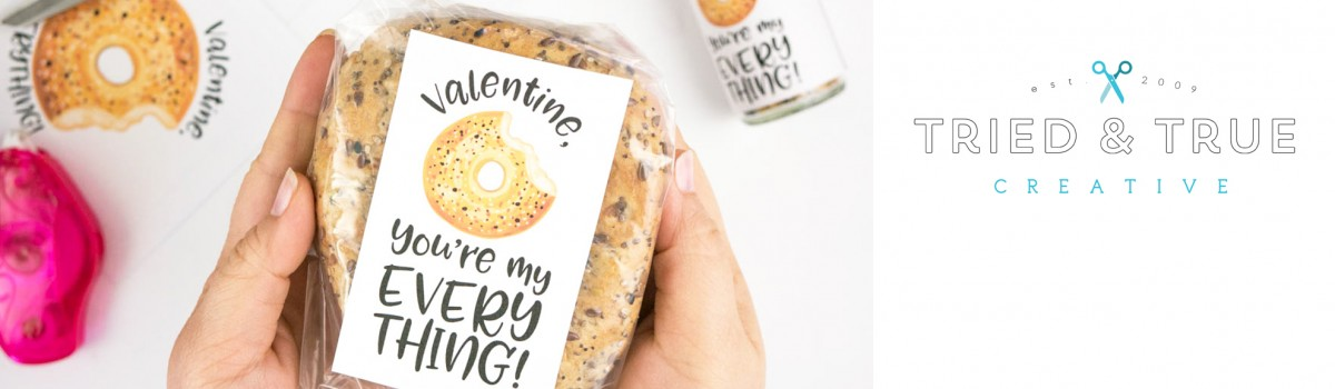 Hands packaging up the Everything Bagel Valentine's Day Gift .