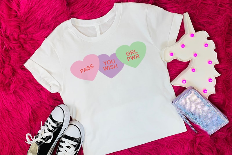 T-shirt with sarcastic conversation hearts on it.