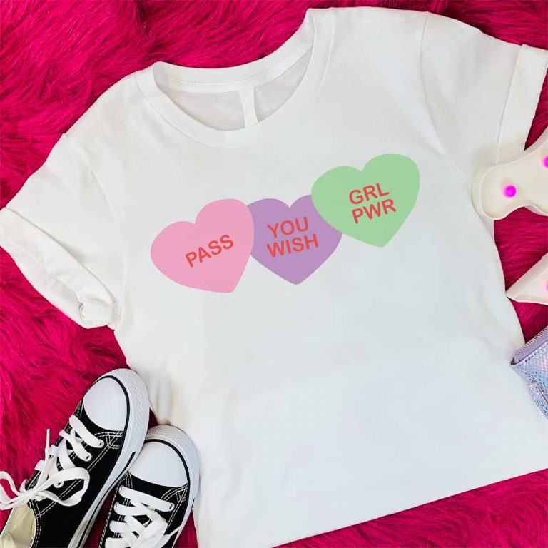 White t-shirt with Valentine's Day Conversation Hearts Free SVG Files on it.