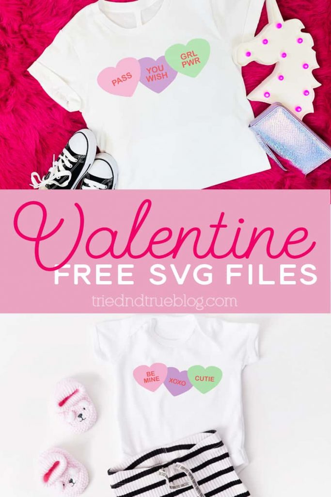 Two different versions of the Valentine Free SVG Files on t-shirts, original and sarcastic.