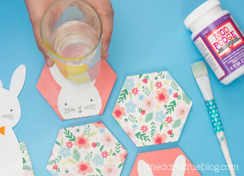 Hand placing a glass of water on a hexagon coaster with a bunny face on it.