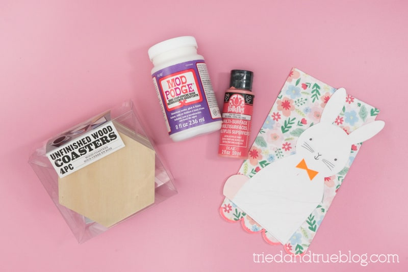 Supplies needed to make Easter Bunny Decoupage Coaster