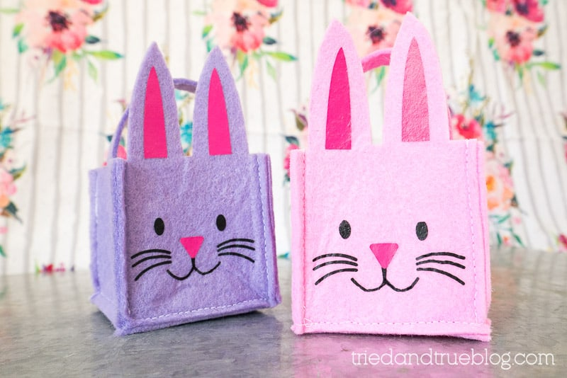 Two small felt Easter Bunny baskets.