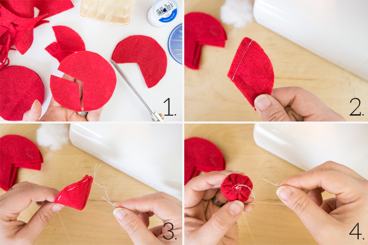 Four picture collage of a hand sewing a felt strawberry.
