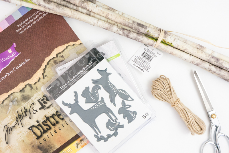 Supplies needed to make Woodland Nursery Paper Mobile