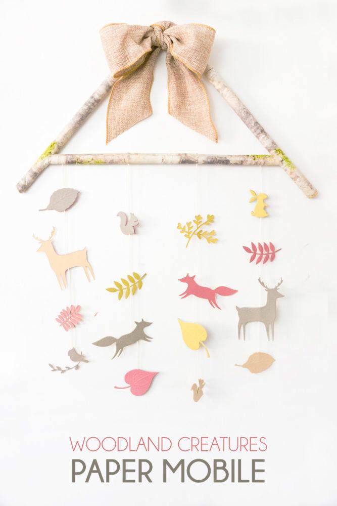Woodland Creatures Nursery Paper Mobile.