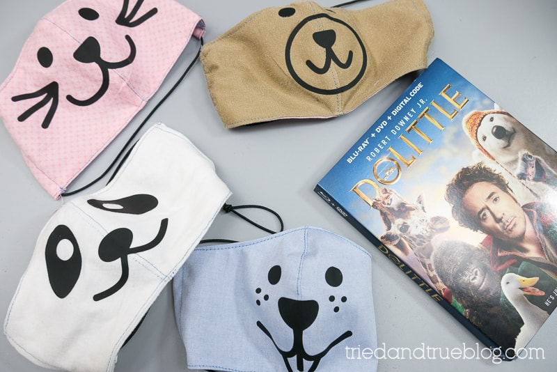Four animal face masks with the Dolittle DVD.